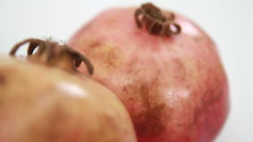 Two pomegranate. On white background stock footage