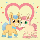 Two Ponies. Favorite Ponies. Lovely Pony. Vector Pony. Pony And Heart. Blue Pony. Pink Pony. Royalty Free Stock Photos