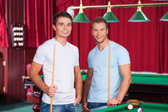 Two pool players. Royalty Free Stock Photo