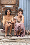 Two Poor young girls Stock Images