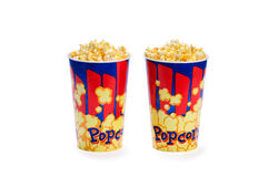 Two Popcorn buckets Royalty Free Stock Images