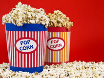 Two popcorn buckets Royalty Free Stock Photo