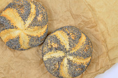 Two Poppy Seed Rolls, Detail Royalty Free Stock Photography