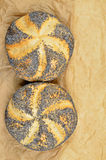 Two Poppy Seed Rolls, Detail Stock Images