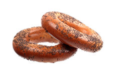 Two poppyseed bagels Royalty Free Stock Image