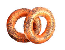 Two poppyseed bagels Stock Images