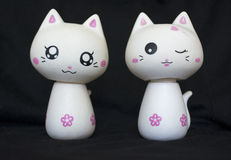 Two Porcelain Cats Stock Photography
