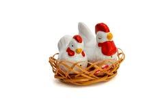 Two porcelain hen saltsellars isolated Stock Photo