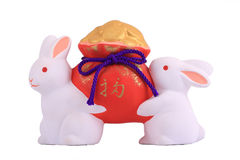 Two porcelain rabbit Royalty Free Stock Images