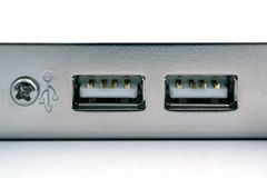 Two port of the usb close up. isolated Stock Photography