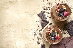 Two Portion Of Chocolate Banana Smoothie In A Glasses,Top View W Royalty Free Stock Image