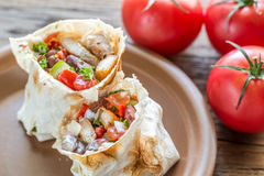 Two portions of chicken burrito Royalty Free Stock Photography