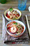 Two portions of noodles with prawns Stock Photos