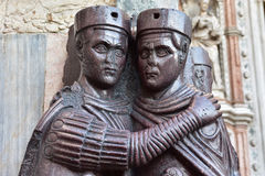 Two of the Portrait of Four Tetrarchs. Two statue of ancient roman Tetrarchs outside Saint Mark Basilica in Venice (300 AD Stock Image