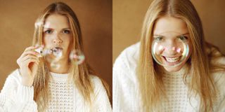 Two portraits of funny fashinable girl with soap bubbles Stock Image