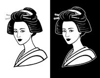 Two portraits of the young Japanese girl an ancient hairstyle. Black and white option. Stock Images