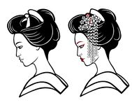 Two portraits of the young Japanese girl an ancient hairstyle. Stock Photo