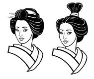 Two portraits of the young Japanese girl an ancient hairstyle. Geisha, maiko, princess. Royalty Free Stock Photos