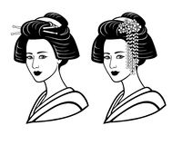 Two portraits of the young Japanese girl an ancient hairstyle. Geisha, maiko, princess. Print, poster, t-shirt, card. Vector illustration isolated on white stock illustration