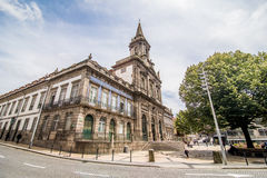 Porto, Portugal - July 2017. Two portuguese churches in Porto that look like just one big church are actually connected. To the le Royalty Free Stock Photography