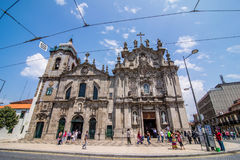Porto, Portugal - July 2017. Two portuguese churches in Porto that look like just one big church are actually connected. To the le. Two portuguese churches in Stock Images