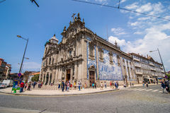 Porto, Portugal - July 2017. Two portuguese churches in Porto that look like just one big church are actually connected. To the le. Two portuguese churches in Stock Photos