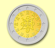 Two Portuguese Euro Coin. With yellow background Stock Photos