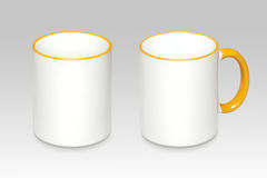 Two positions of a white mug. On a gray background royalty free stock image