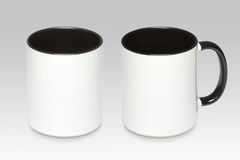 Two positions of a white mug stock photos