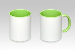 Two positions of a white mug stock image