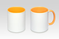 Two positions of a white mug royalty free stock photos