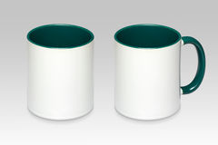 Two positions of a white mug stock photo