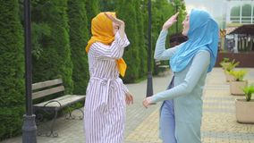 Two positive Muslim young women dancing in the park close up stock video