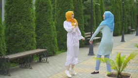 Two positive Muslim young women dancing in the park. Two positive expressive attractive Muslim young woman in traditional scarf dancing in the park stock video