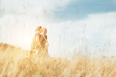 Two positive tourist mans walks on golden field Stock Photos