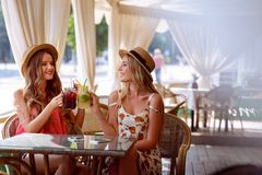 Two positive young women enjoying fresh smoothie in cafe stock photography