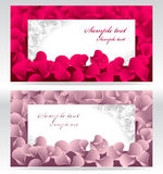 Two post card or frames or banners with red and pi Royalty Free Stock Images