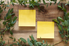 Two post its in frame. Post It in Green Leaf frame over wooden background Stock Photos