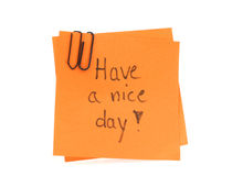 Two post-it notes with handwritten HAVE A NICE DAY. On them, white background Stock Images