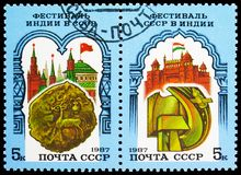 Two postage stamps printed in Soviet Union devoted to Soviet-Indian Festival, serie, circa 1985. MOSCOW, RUSSIA - MAY 25, 2019: Two postage stamps printed in royalty free stock images