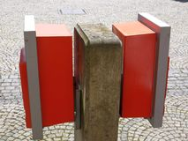 Two postboxes taken in profile Stock Photo