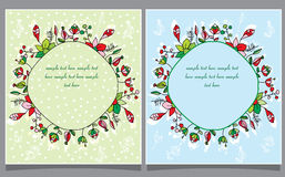 Two postcards and flowers wreath Royalty Free Stock Images