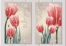 Two postcards with hand painted red tulips. Green leaves and blades of grass flying around Stock Images