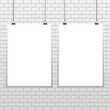 Two poster mockup A4. Two empty white A4 sized vector paper mockup on seamless white brick wall. Realistic vertical poster mock-up on vintage background. Show stock illustration