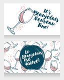 Two posters for Beaujolais Nouveau arrive Royalty Free Stock Photos