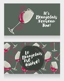 Two posters for Beaujolais Nouveau arrive Stock Images