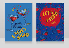 Two posters for ladies night party. Can be used as menu cover for cocktail bar, vector illustration Royalty Free Stock Photo