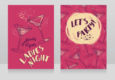 Two posters for ladies night party. Can be used as menu cover for cocktail bar, vector illustration Stock Images