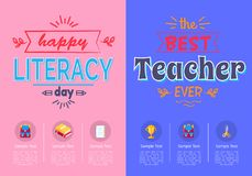 Two Posters School Theme Vector Illustration. Royalty Free Stock Image