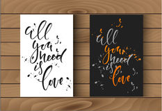 Two posters template with calligraphy signs on wooden texture. Two posters template with calligraphy signs on wood Royalty Free Stock Image